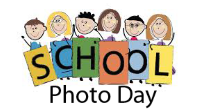 Clip art of sic children holding sign that says school photo day