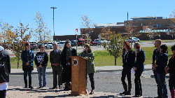 Students and staff at the dedication