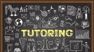 Picture of a chalkboard with the word tutoring