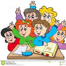 Cartooon of students in a classroom.