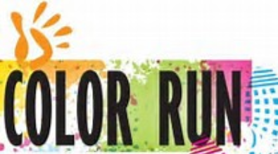 image of the words color run, hand print and shoe print