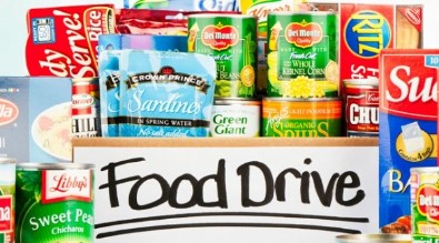 food drive, cans, boxes