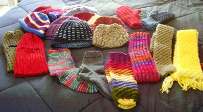 hats, scarves, gloves, socks