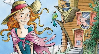 young girl with red hair and hat by an upside down house with a pig, dog and parrot in the window