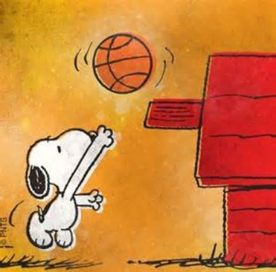 Photo of Snoopy playing basketball.