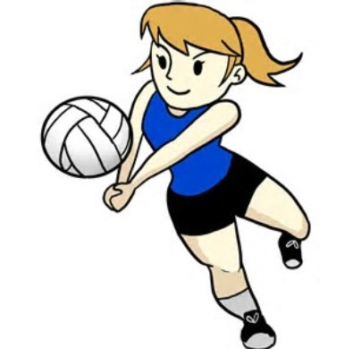 Photo of girl playing volleyball.