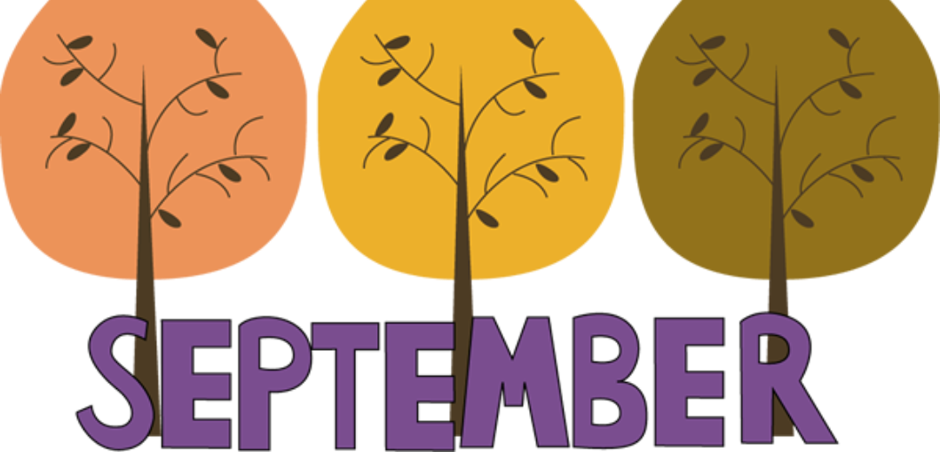 clipart of trees with word September