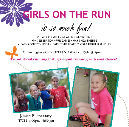 Picture of Girls on the Run Flyer. Clicking registration button to the right will take you to flyer.