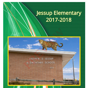 picture of Jessup yearbook cover-jaguar on top of the school