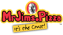 "Mr. Jim's Pizza logo ""It's the crust!"""