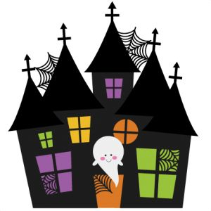 clipart of a haunted house and ghost