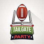clipart of a football and goal post that says Tailgate Party