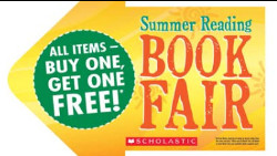 "Yellow arrow with text ""Summer Reading Book Fair. All items-buy one, get one free!"""
