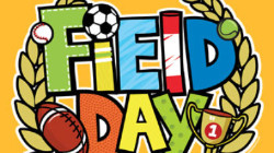 clipart of words Field Day with balls and trophy