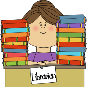 Clipart of a librarian with books