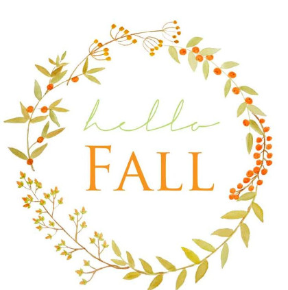Clipart of a wreath that says Hello Fall