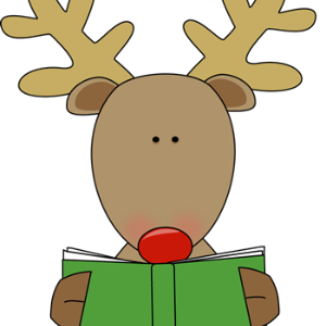 Clipart of a reindeer with a book