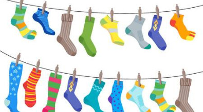 clipart of colorful socks hanging on a line