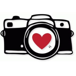 clipart of a camera with a heart on the lens