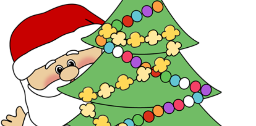 clipart of Santa with a Christmas tree