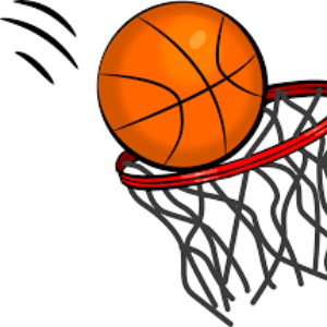 clipart of a basketball going into a net