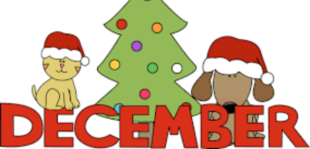 clipart of a Christmas tree, dog and cat, and the word December