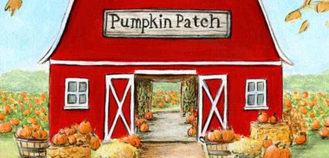 """clipart of a barn with a sign reading """"Pumpkin Patch"""", surrounded by pumpkins"""