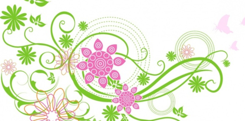 clipart of green and pink flowers