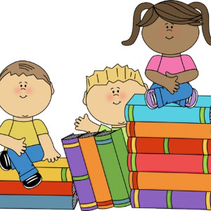 Clipart of three kids sitting on books