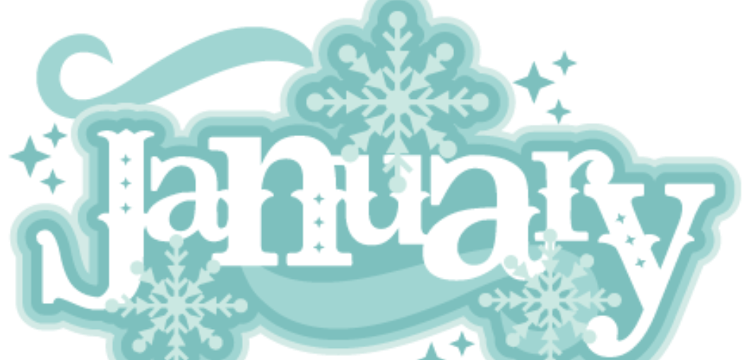 clipart of the word January with snowflakes