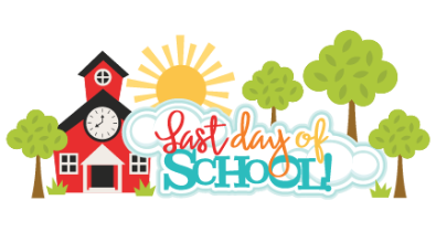 "clipart of a school house, trees and sun with words ""Last Day of School"""