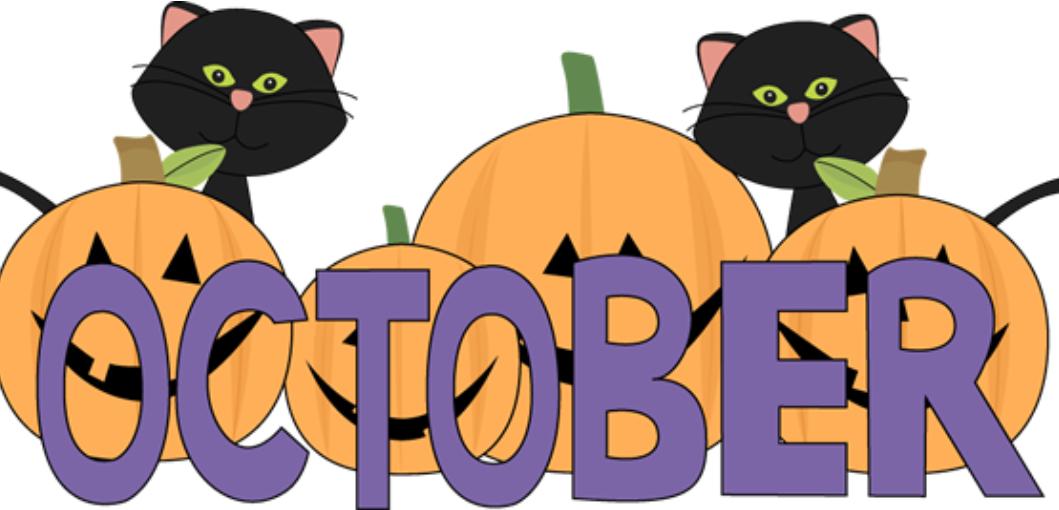clipart of two black cats and jack-o-lanterns with the word October