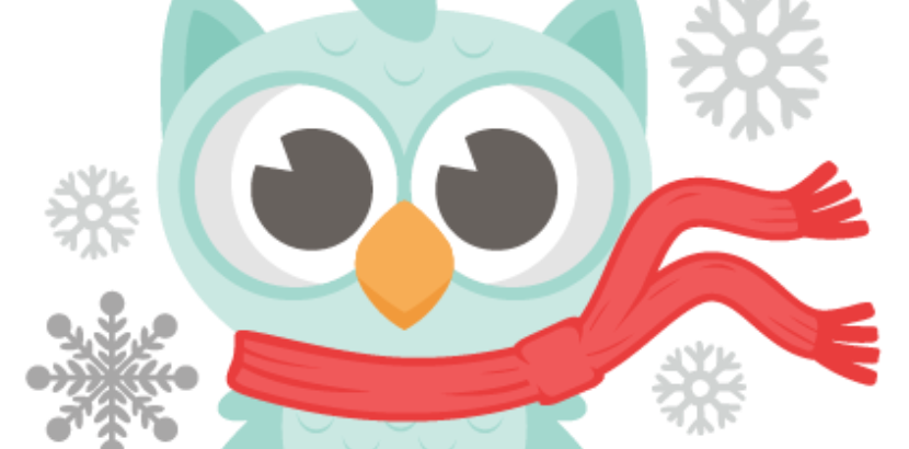 clipart of snowflakes and an owl with a scarf