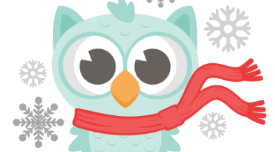 clipart of snowflakes and an owl wearing a scarf