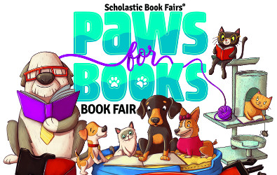 Scholastic Book Fairs Paws for Books logo with dogs and cats reading books
