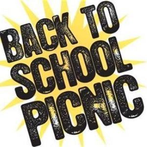 clipart of words back to school picnic over a sun