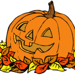 clipart of a pumpkin in leaves