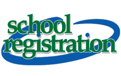 """clipart of words """"School Registration"""" with a blue circle behind"""