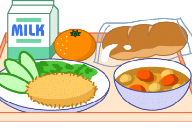 clipart of school lunch tray with food