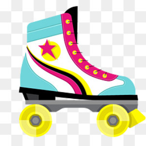 clipart of a brightly colored rollerskate
