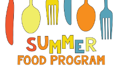 """Graphic reads """"Summer Food Program"""" with sliverware"""