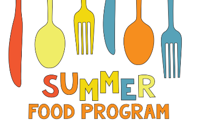 "clipart of colored silverware with words ""Summer Food Program"""