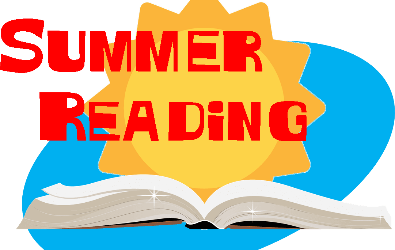 "Graphic reads ""Summer Reading"" with a sun and open book"