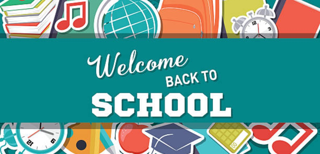 Picture of words Welcome Back to School with books, globe, music notes, backpack, clocks, school supplies, graduation cap