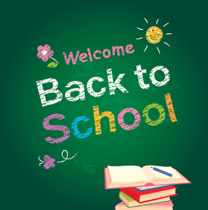 Chalkboard clipart that says Welcome Back to School