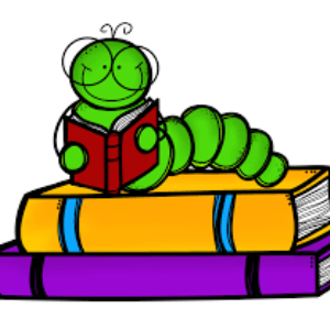 Clipart of bookworm with books