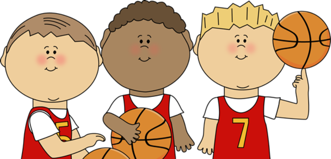 Three boys holding basketballs