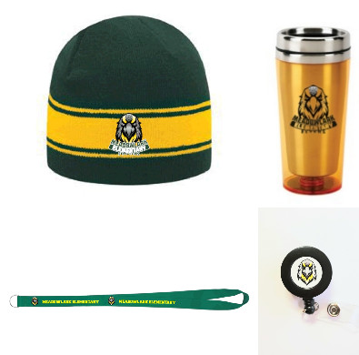 Picture of badge reel, Lanyard, tumbler, and beanie hat