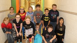 Hickory Grove super heroes on Super Hero Day during Red Ribbon Week.