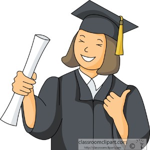 Graphic of graduate in cap and gown.